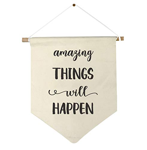 Amazing Things Will Happen Motivational Wall Art Office Decor Inspirational Print Bedroom Home Canvas - Framed Banner