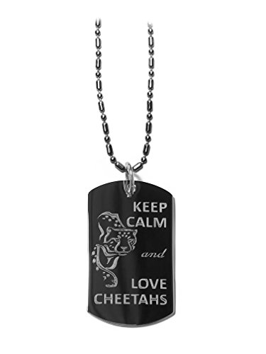 Love Cheetahs (Keep Calm and Love Cheetahs - Luggage Metal Chain Necklace Military Dog Tag)