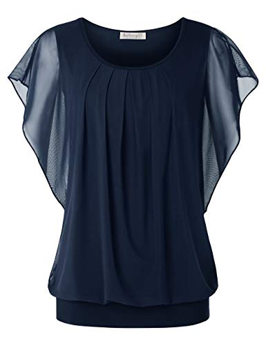 BAISHENGGT Women's Printed Flouncing Flared Short Sleeve Mesh Blouse Top X-Large Navy Blue