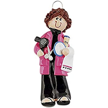 Hairdresser Female Brown Personalized Christmas Tree Ornament