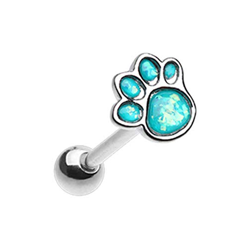 14 GA Animal Lover Paw Print Opal Barbell Tongue Ring 316L Stainless Surgical Steel Tongue Ring For Women and Men Davana Enterprises
