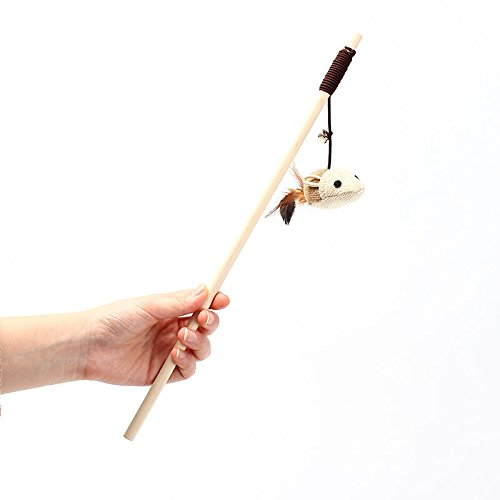 """16"""" NATURA Wooden Cat Catcher Teaser Wand With Bell, Light Dual Rod Feather Teaser and Exerciser For Cat and Kitten - Cat Toy Interactive Cat Wand"""