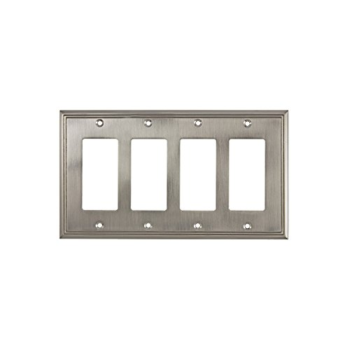 Rok Hardware Wall Plate Contemporary Decorative Rocker/GFCI Switch Plate (Brushed Nickel, 4 Gang) ()