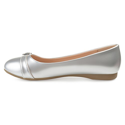 Journee Collection Womens Comfort-sole Buckle Detail Flats Silver YJqlFI5