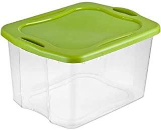 product image for 70-Quart See-Through Base Spicy Lime EZ Carry Storage Box Deep recessed lid for secure stacking with Comfortable Carry Thru Handles - Case of 6