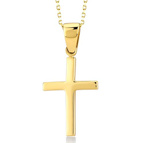 Gelin 14k Solid Yellow Gold Polished Simple Christian Cross Pendant Chain Necklace - Women Fine Jewelry Gift, 18 inc