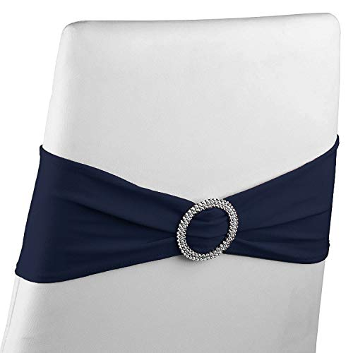 Navy Chair Sashes - 50-Pack Elastic Spandex Chair Cover Bands for Wedding, Formal Banquet, Rhinestone Buckle Slider Seat Decorations, Fits 14 to 18-Inch Chair Widths, Navy Blue, 13.2 x 5 Inches