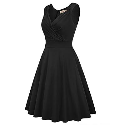GRACE KARIN Women's 50s 60s Vintage Sleeveless V-Neck Cocktail Swing Dress: Clothing