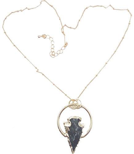 Obsidian Gold (Black obsidian arrowhead necklace (Gold))