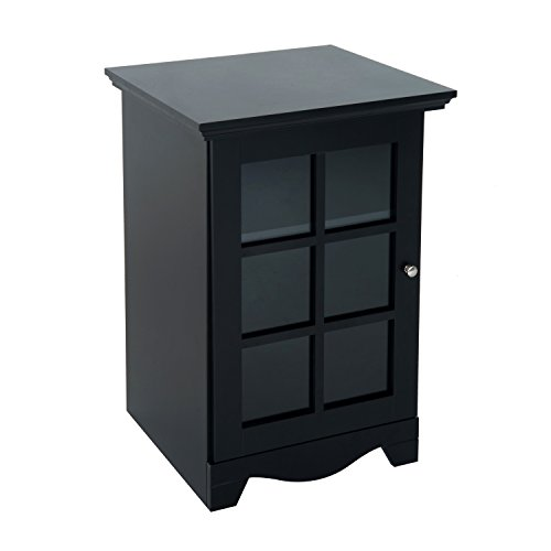 HomCom Wooden Accent End Table w/ Glass Door Storage - Black (Accent End)