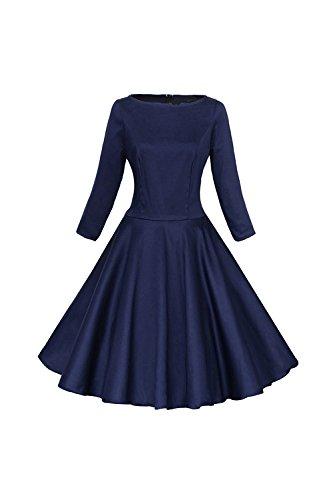 Frauen 1950er Jahre Vintage 3/4 Ärmel Swing Partykleid mit Bowknot Blue XXL