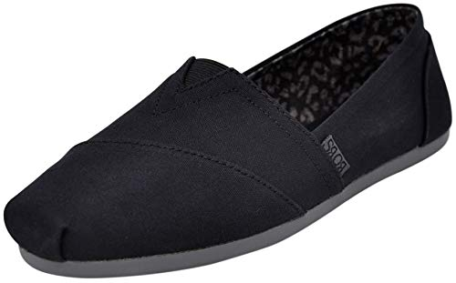Skechers BOBS Women's Bobs Plush-Peace & Love, Black/Charcoal, 7 W US (Skechers Shoes Black Women)