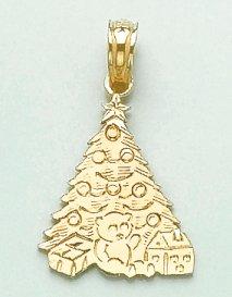 14k Yellow Gold Holiday Charm Pendant, 2D Christmas Tree with Bear & (14k Gold Christmas Tree)