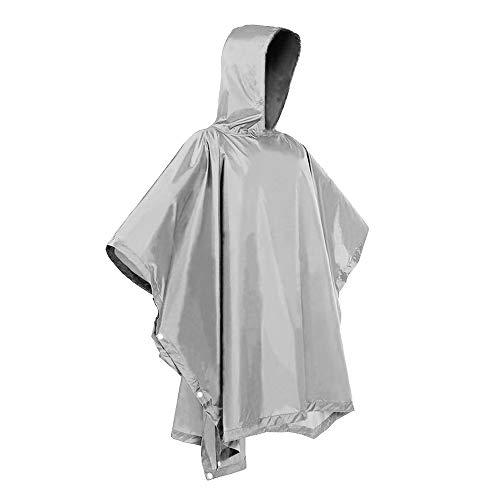 (H&C Rain Ponchos Unisex Raincoat Rain Suits for Men Women Rain Poncho Waterproof Rain Jacket Rain Coat Gray)