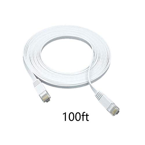 Cat 6 Ethernet Cable 100 ft –Flat Wire High Speed Internet Network Cable Slim with Clips Faster Than Cat5e Cat5 30 Meters-(100FT-White)