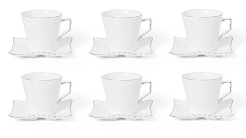 Royalty Porcelain 12-pc Miniature Espresso Coffee Set for 6, 24K Gold Bone China (JS-1988-12S) -