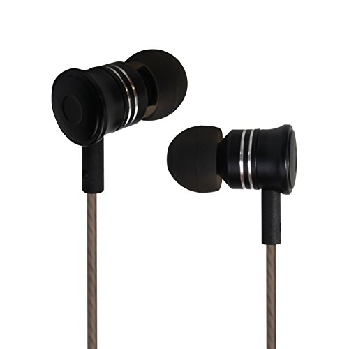 In-Ear Earbud Headphones Moniko Corded Headsets with Microphone Stereo Wired Headphone Dynamic Crystal Clear Sound 3.5mm for iPhone Android iPod iPad Laptop Mac Tablet Black