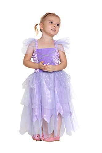 Girls Princess Tinkerbell Costume Long Dress Fairy Wings Birthday Party Halloween (Purple 2-4 -