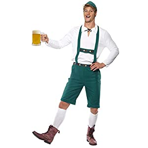 Smiffys Men's Oktoberfest Costume Lederhosen Shorts with Braces Top and Hat