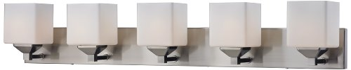 Matte Nickel Five Light (Z-Lite 2104-5V Quube Five Light Vanity Light, Steel Frame, Brushed Nickel Finish and Matte Opal Shade of Glass)