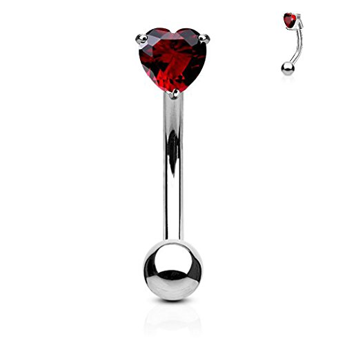16G 3mm Heart CZ Prong Set FifthCue 316L Surgical Steel Eyebrow Curved Barbell Ring - Choose Color (16g Curved)
