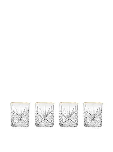 Godinger Dublin Set of 4 Gold Banded Double Old Fashions - Glasses Gold Rimmed