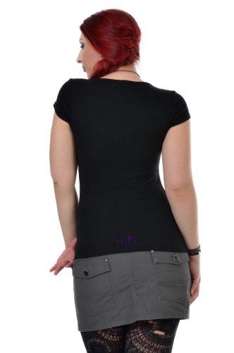 3elfen mariposa Camisa de hadas Mujer de de Negro con Cuello ropa redondo Verano Top P corta camisa manga rWrRng