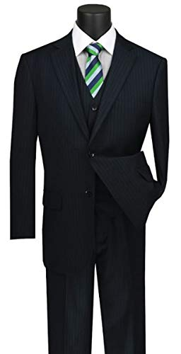 VINCI Men's Pinstripe 2 Button Single Breasted Classic Fit Suit with Vest V2RS-7-Navy-50R ()