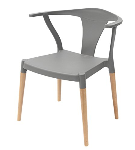 Icon Series Gray Modern Accent Dining Arm Chair Beech Wood Legs ()