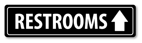 Grafken: MG1079 Aluminum Sign LARGE 2 ft x 6 in: RESTROOMS. ARROW UP (black/white) Style 1