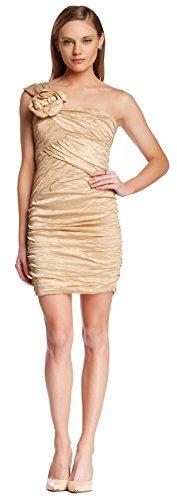 BCBGMAXAZRIA Anett One Shoulder Taffeta Mini Dress 4 Champagne