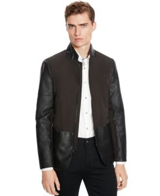 Kenneth Cole Reaction Mens Two-Tone Faux Leather Jacket