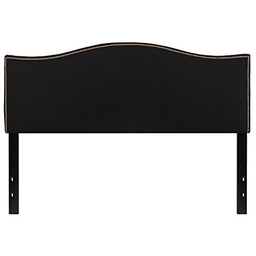 Flash Furniture Lexington Upholstered Queen Size Headboard with Accent Nail Trim in Black Fabric (Tufted Headboard Queen Sale)