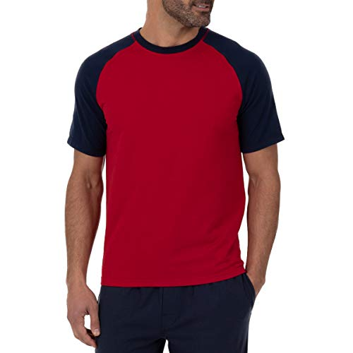 - IZOD Men's French Terry Sleep Top, Jester Red Body with Peacot Sleeves, Large