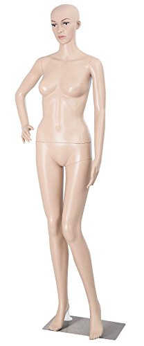 Female Mannequin Plastic Realistic Display Head Turns Dress Form w/ Base from Unknown