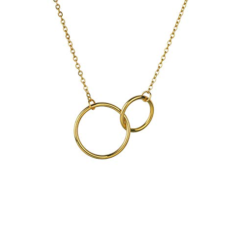 WillBeFond Stainless Steel Necklace for Women - 18K Gold Plated Fashion Double Ring Necklace 18k Gold Plated Fashion Rings