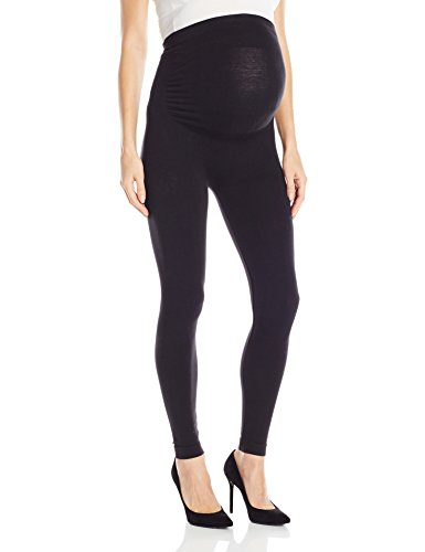 Leading Lady Women's Cotton Maternity Support Leggings, Black, L