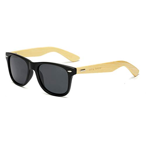 Polarized Bamboo Wood Arms Sunglasses Classic Women Men Driving Glasses by Long Keeper (Black, Grey)