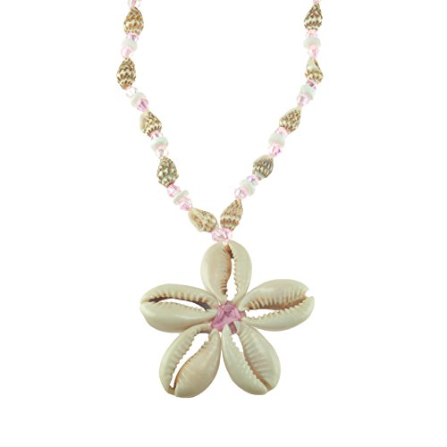 Nassa Tiger (Cowrie Shells Flower on Tiger Nassa & Puka Clam Shells Beaded Necklace with Pink Glass Beads)