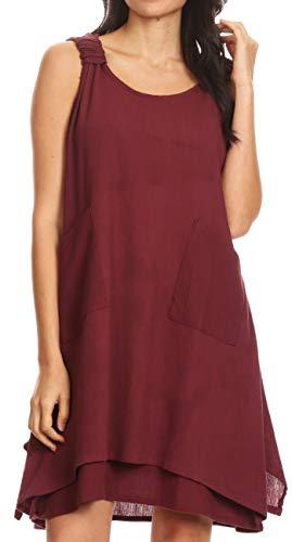 Sakkas 4340 - Genna Two Layer Sleeveless Ruched Shoulder Straps Round Neck Tent Dress - Brown - OS