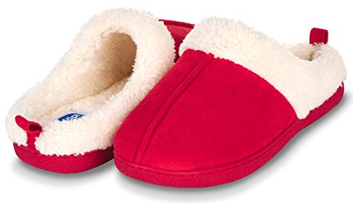 Floopi Slippers for Women Memory Foam Fur Lined Clog House Slipper W/Indoor-Outdoor Anti Skid Rubber Sole (L, Red-301)