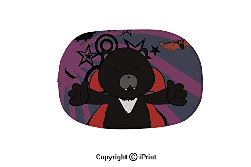 Oval Shaped Rug Pink Mat for Kids Room Soft Rugs for Bedroom/Bathroom,Cute Panther Dracula Costume Halloween Background,15.7