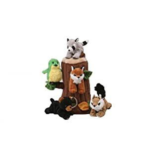 Plush Treehouse with Animals - Five (5) Stuffed Forest Animals