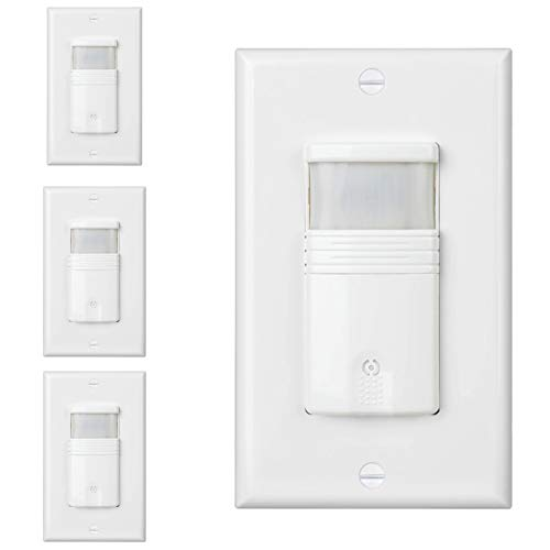 (Pack of 4) White 3-Way Motion Sensor Light Switch - NEUTRAL Wire Required - For Indoor Use - Vacancy & Occupancy Modes - Title 24, UL Certified - Adjustable Timer