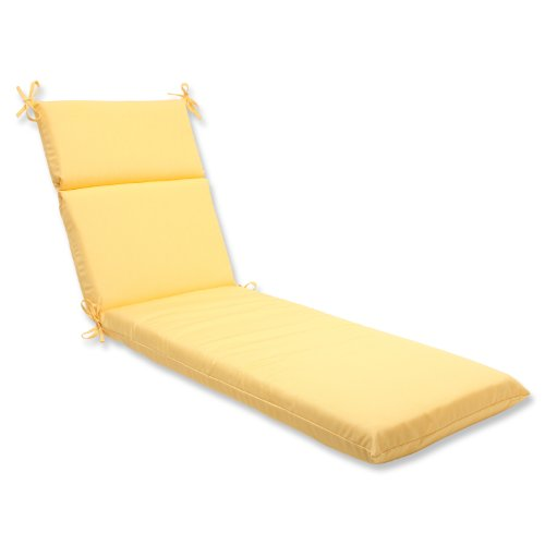 Pillow Perfect Indoor/Outdoor Chaise Lounge Cushion with Sunbrella Canvas Buttercup Fabric, 72.5 in. L X 21 in. W X 3 in. D
