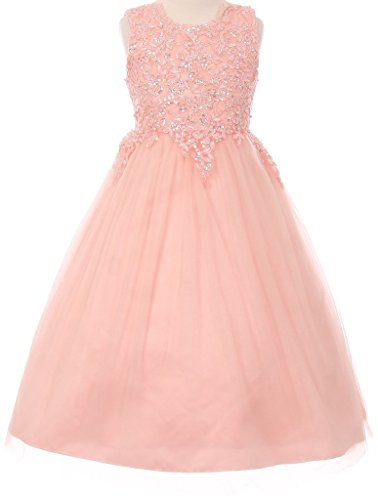 Collection Bridesmaid Dress - BluNight Collection Big Girl Pearl Sequin Tulle Pageant Junior Bridesmaid Wedding Flower Girl Dress Blush 10 (50C08C)