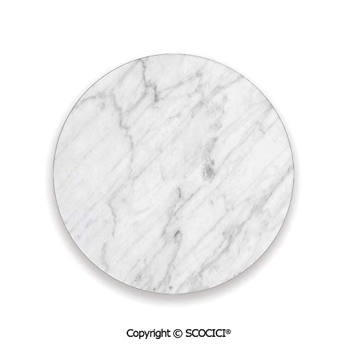Ceramic Coaster With Cork Mat on the back side, Tabletop Protection for Any Table Type, round coaster,Marble,Carrara Marble Tile Surface Organic Sculpture Style,3.9