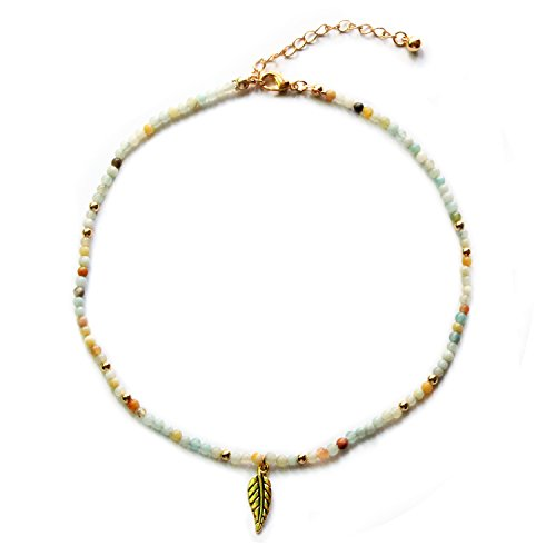MHZ JEWELS Natural Amazonite Bead Choker Necklace with Gold Leaf Pendant Healing Stone Crystal Choker for Women