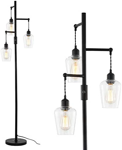 Stepeak Farmhouse Floor Lamp,Industrial Glass Standing Light