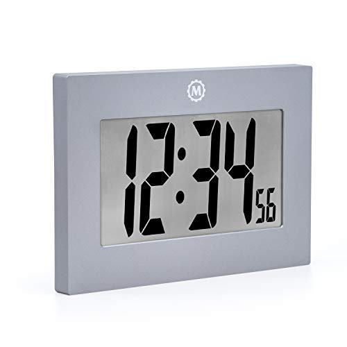 Marathon Large Digital Wall Clock with FoldOut Table Stand. Size is 9 inches with Big 3.25 Inch Numbers. Batteries Included. Frame Color – Graphite Grey. SKU CL030064GG